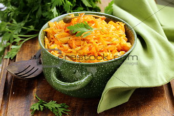 braised cabbage with carrots and tomato sauce with capers