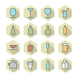 Thin Line Icons For Drinks