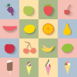Flat icon fruit and ice cream