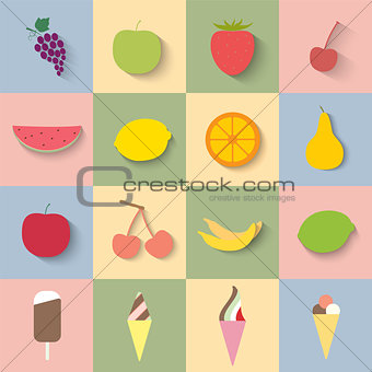 Flat icon fruit and ice cream