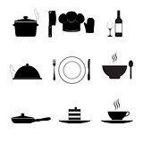 Cooking and kitchen icons, black on white