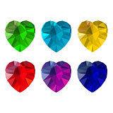 Set of heart-shaped gemstones