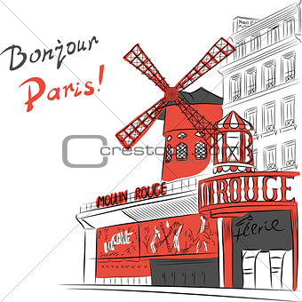 Vector sketch of cityscape with Moulin Rouge in Paris