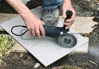 Cutting a floor tile