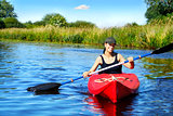 Girl with paddle and kayak 4