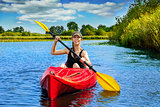 Girl with paddle and kayak 9