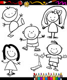 happy kids cartoon coloring book