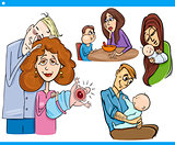 parents and kids cartoon set