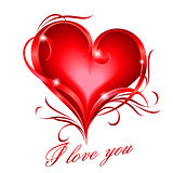 Red heart with I love you text
