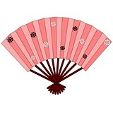 Pink japanese hand fan with flowers