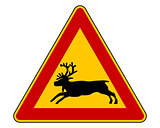Reindeer warning sign