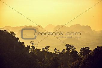 Beautiful mountains on sunset
