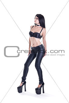 Sexy fetish woman in leather pants