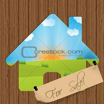 For sale sign with house cutout