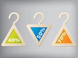 Cloth hanger style label set of 3