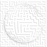 Maze globe on maze background