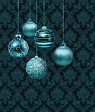 Silver blue Christmas balls