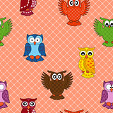 Colourful owl seamless pattern