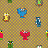 Multicolour owl seamless pattern