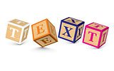 Word TEXT written with alphabet blocks
