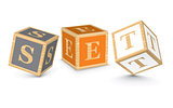 Word SET written with alphabet blocks