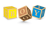 Word BOY written with alphabet blocks