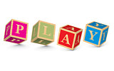 Word PLAY written with alphabet blocks