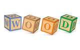 Word WOOD written with alphabet blocks