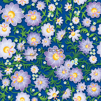 abstract seamless violet floral ornament with spring flowers