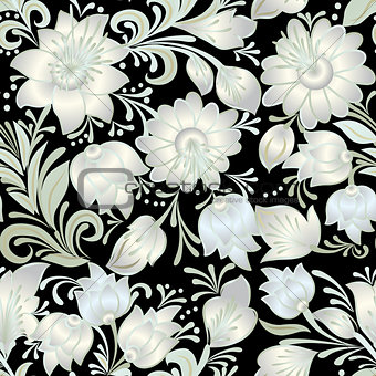 abstract vintage seamless white floral ornament isolated on a bl