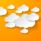 White clouds on orange background
