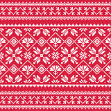 Ukrainian, Slavic folk art white embroidery pattern on red