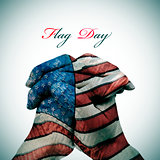 Flag Day and man clasped hands patterned with the american flag