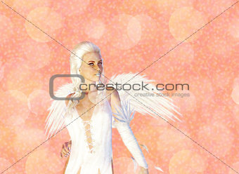 3D Angel on Pink Bokeh Background