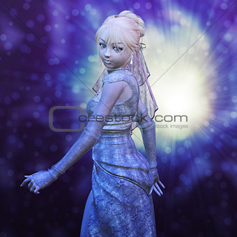 3D girl in wedding dress