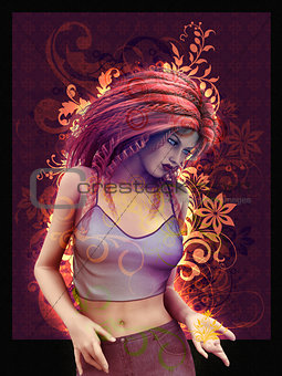 3d Girl on vintage swirls background