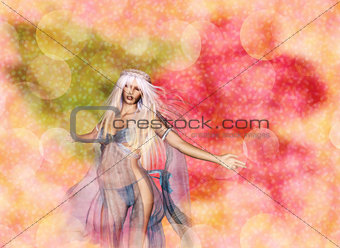 3D Woman on Bokeh Background