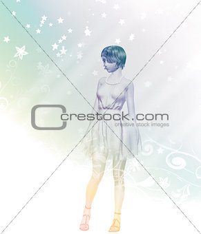 Abstract illustration with a girl