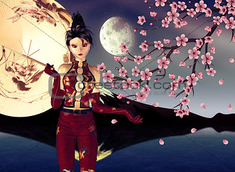 Asian Girl with Sakura