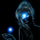 Blue glowing woman