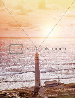 Lighthouse on seashore