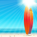 Holidays background with surfboard, easy all editable