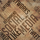 Social Media  - Grunge Brown Wordcloud Concept.
