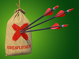 Unemployment - Arrows Hit in Red Mark Target.