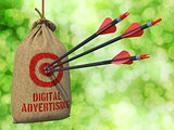 Digital Advertising - Arrows Hit in Red Mark Target.