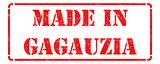 Made in Gagauzia - inscription on Red Rubber Stamp.