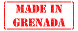 Made in Grenada - inscription on Red Rubber Stamp.