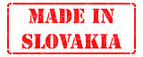 Made in Slovakia - inscription on Red Rubber Stamp.