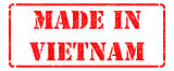 Made in Vietnam - inscription on Red Rubber Stamp.