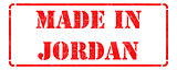 Made in Jordan - inscription on Red Rubber Stamp.